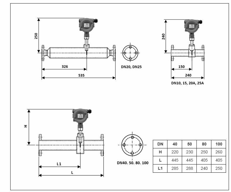flange in-line thermal mass flow meters