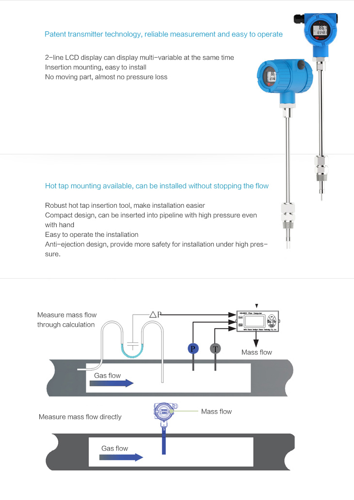 insertion type Thermal mass flow meter